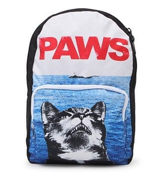 This parody of Jaws features a cat printed on a unique backpack.