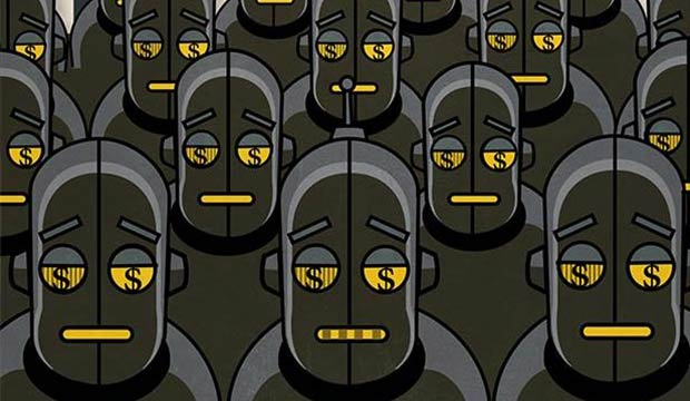robots with dollar sign on their eyes