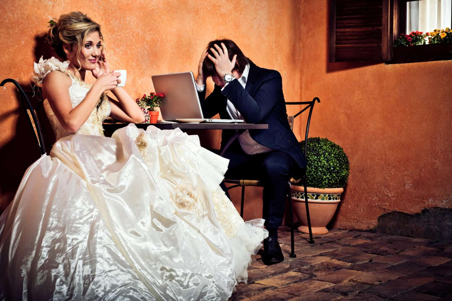 Money and marriage statistics show why this newlywed couple is stressed: It's the main cause of divorce