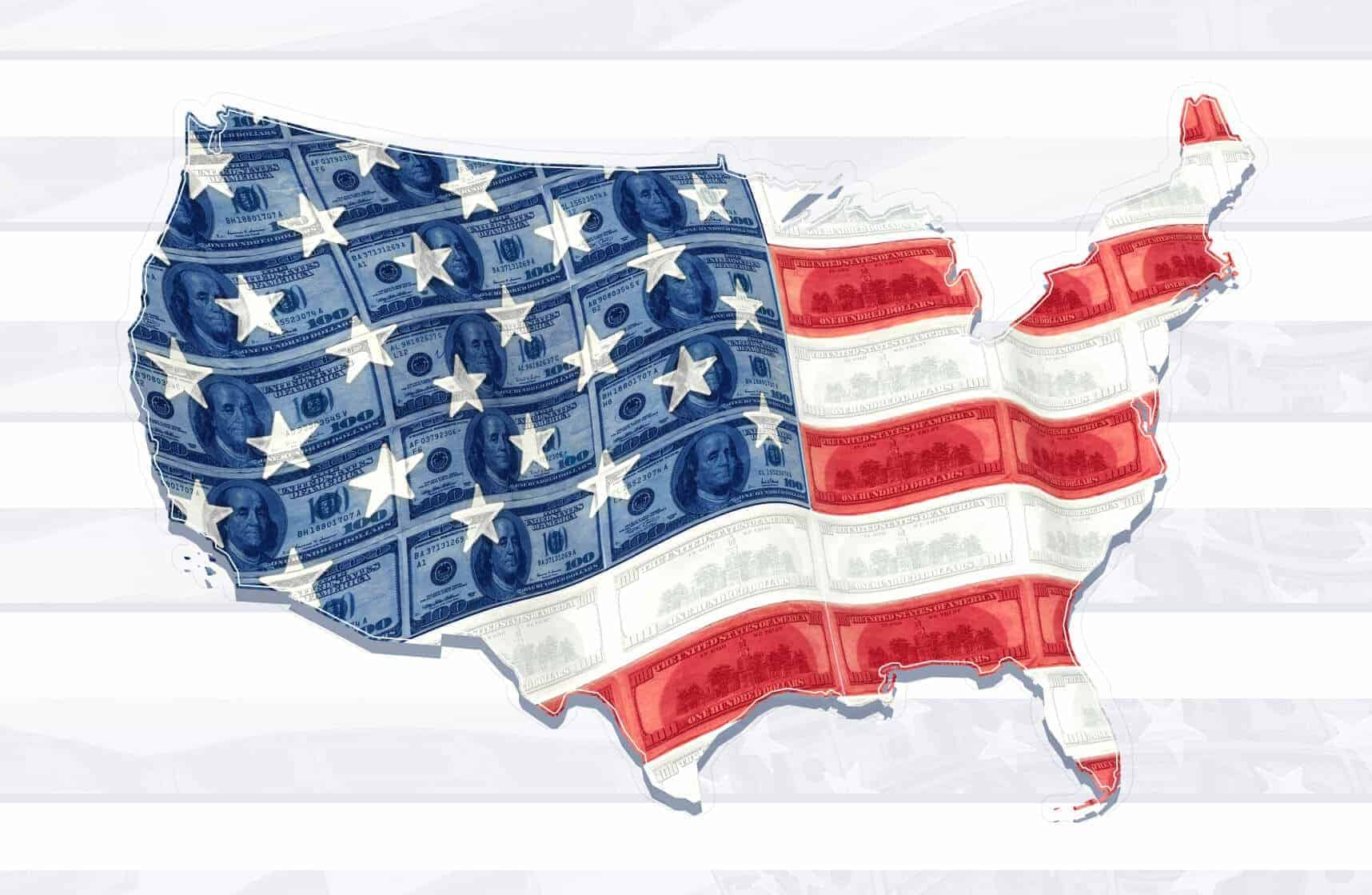 The United States flag and electoral map are made of money (illustrated)