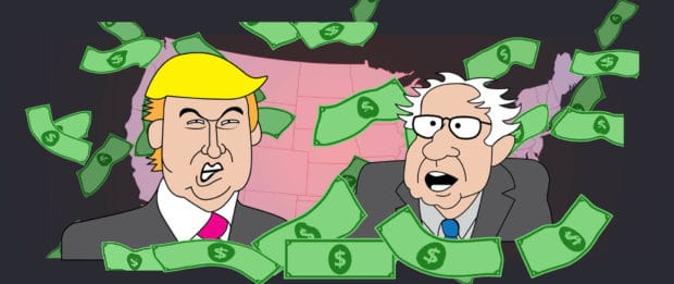 Donald Trump and Bernie Sanders stand behind a pile of money against a backdrop of the U.S. electoral map (illustrated)