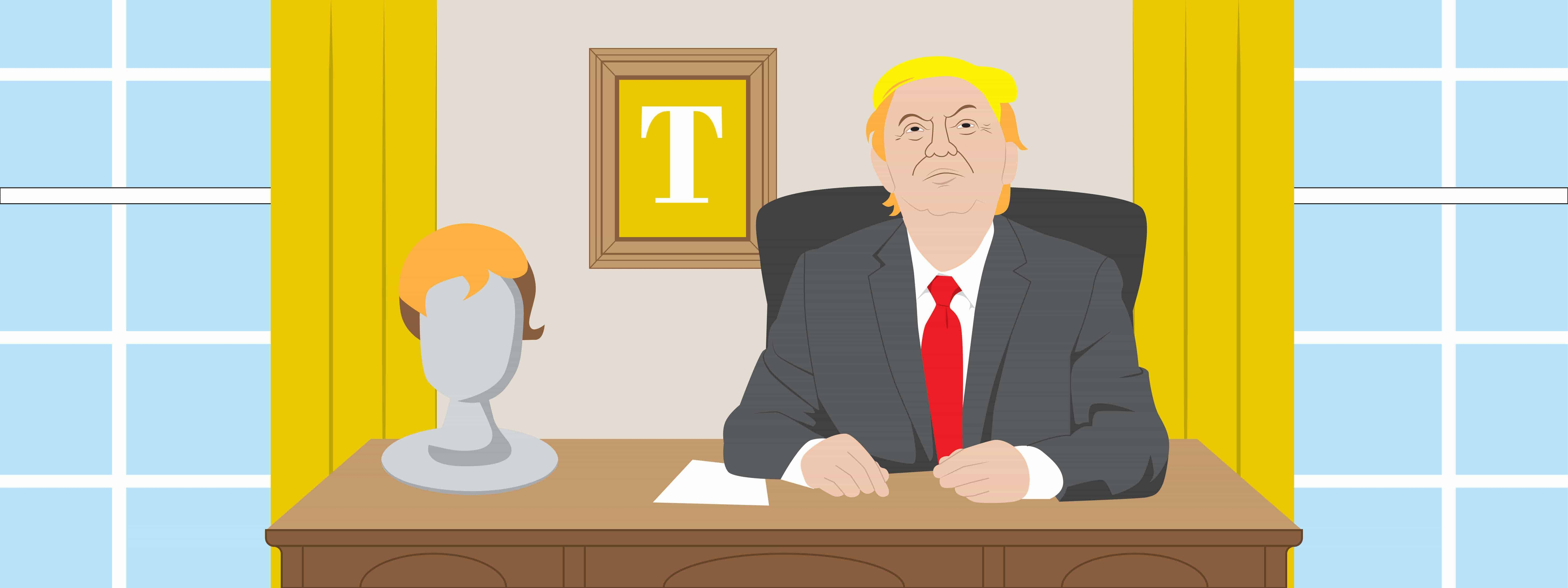 What the Oval Office will look like after the first 100 days of Donald Trump's presidency, including a bust of himself, gold drapes and a golden T painting (illustrated)