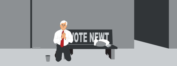 Newt Gingrich begs for money in front of a bus stop (illustration)
