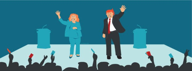 Hillary Clinton and Donald Trump wave to the crowd on a debate stage as consumers cheer (illustrated)