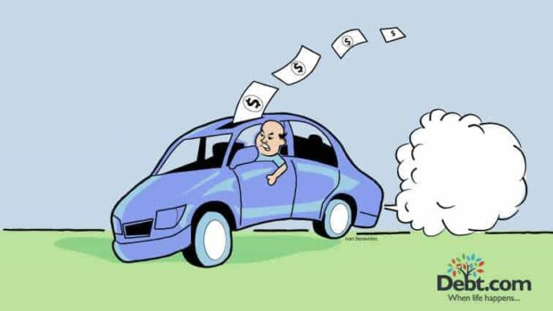 cartoon of guy driving aggressively thus burning his money on gas