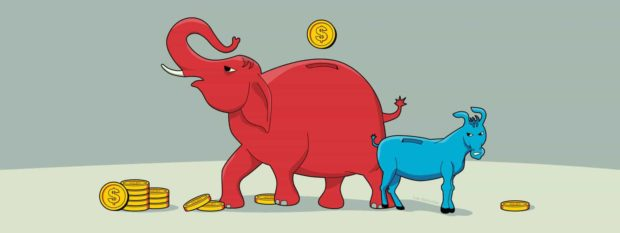 A giant Republican elephant piggy bank gives itself coins next to a small Democratic donkey piggy bank (illustrated)