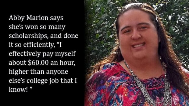 Abby Marion quote on winning scholarships
