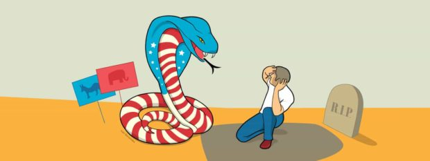 A giant red, white, and blue cobra representing the 2016 election looms over a man cowering in front of a gravestone (illustrated)