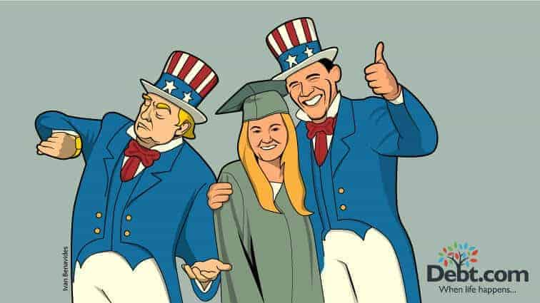 Donald Trump and Barack Obama in Uncle Sam Outfits pitch their student loan repayment plans to a recent graduate (illustrated)