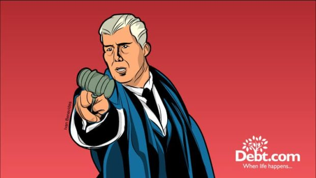 Supreme Court Justice Neil Gorsuch points his gavel dramatically (illustrated)
