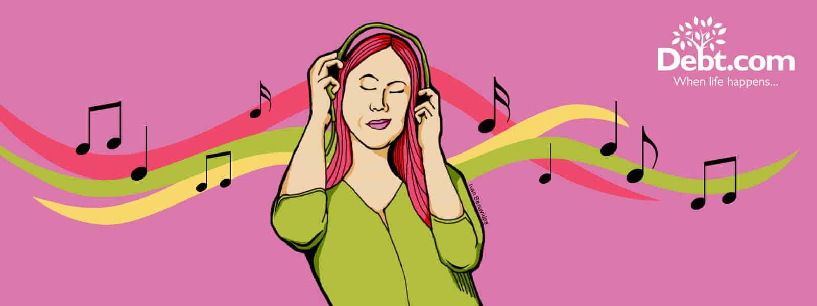 Debt.com Illustration by Ivan Benavides: Millennial woman listening to music on a paid music steaming service