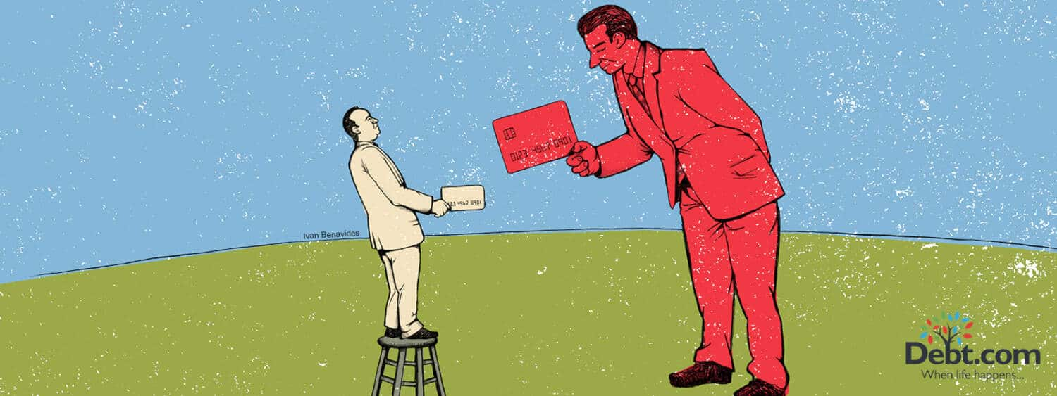 Illustration of a credit invisible man being handed a credit card