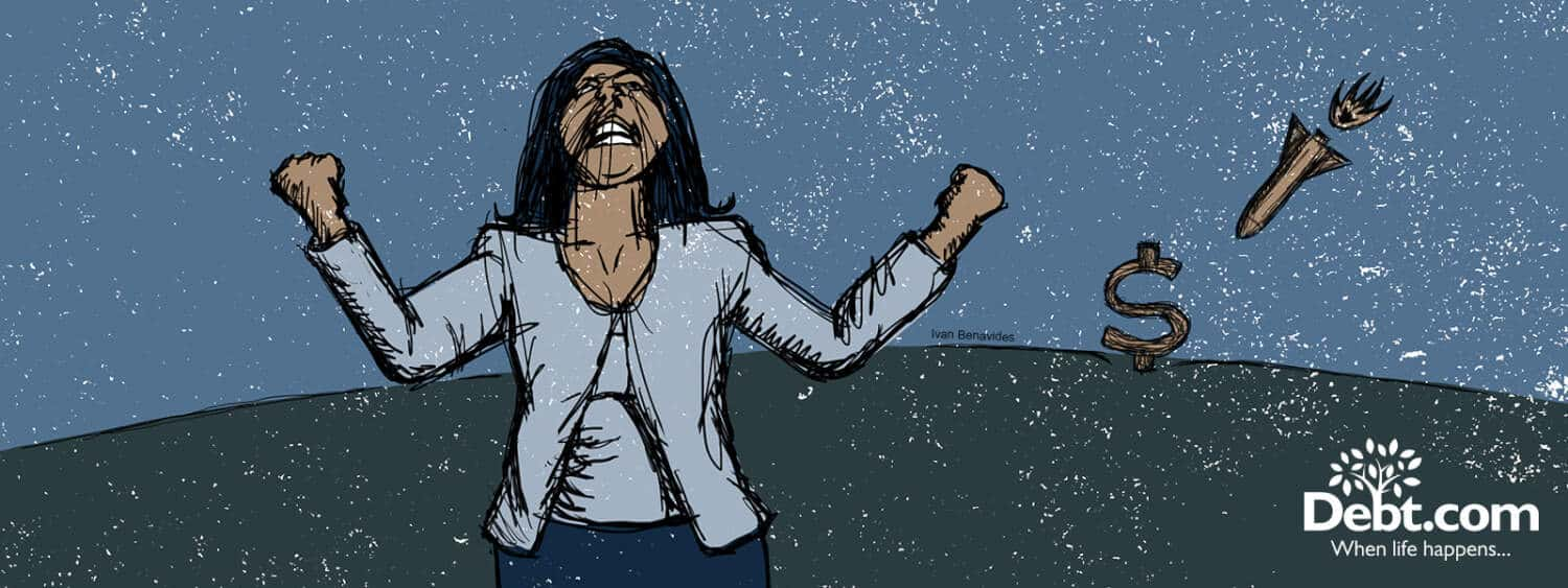An angry woman shakes her fists at the sky (illustrated)