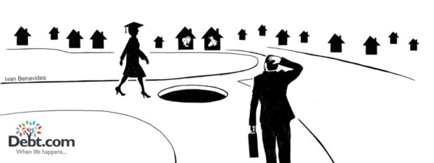 Debt.com debt news illustration by Ivan Benavides: Female student walks towards hole as businessman considers housing market