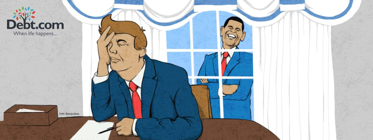 Barack Obama laughs at a tired Trump in the Oval Office (illustrated)