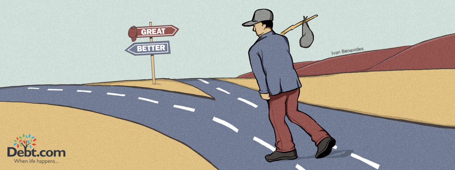 Man walks along a political fork in the road (illustration)