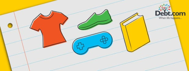 Debt.com Back to School 2017 illustration with icons for clothing, electronics, shoes, and school supplies