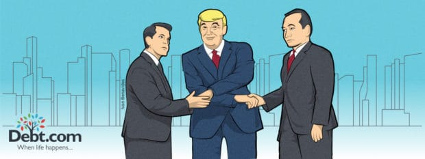 Banking regulator nominees Joseph Otting and Randy Quarles shake hands with Donald Trump (illustrated)