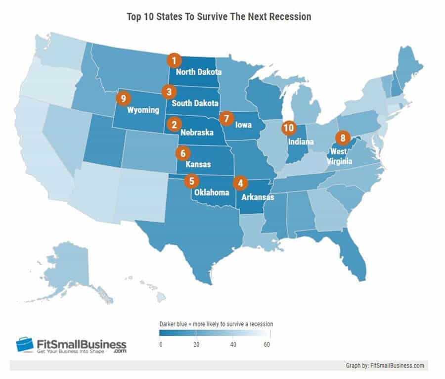 U.S, map showing the 10 best states for weathering the next recession