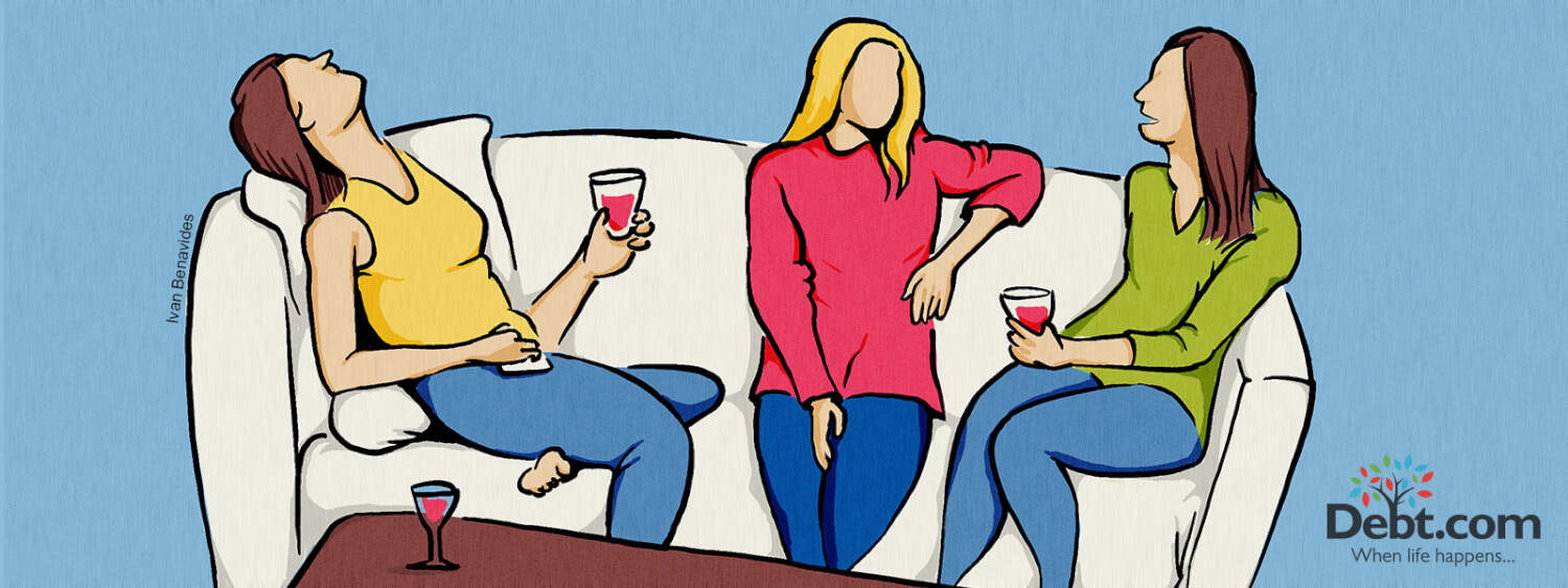 three women sit on a couch drinking and laughing about the costs of weddings (illustrated)