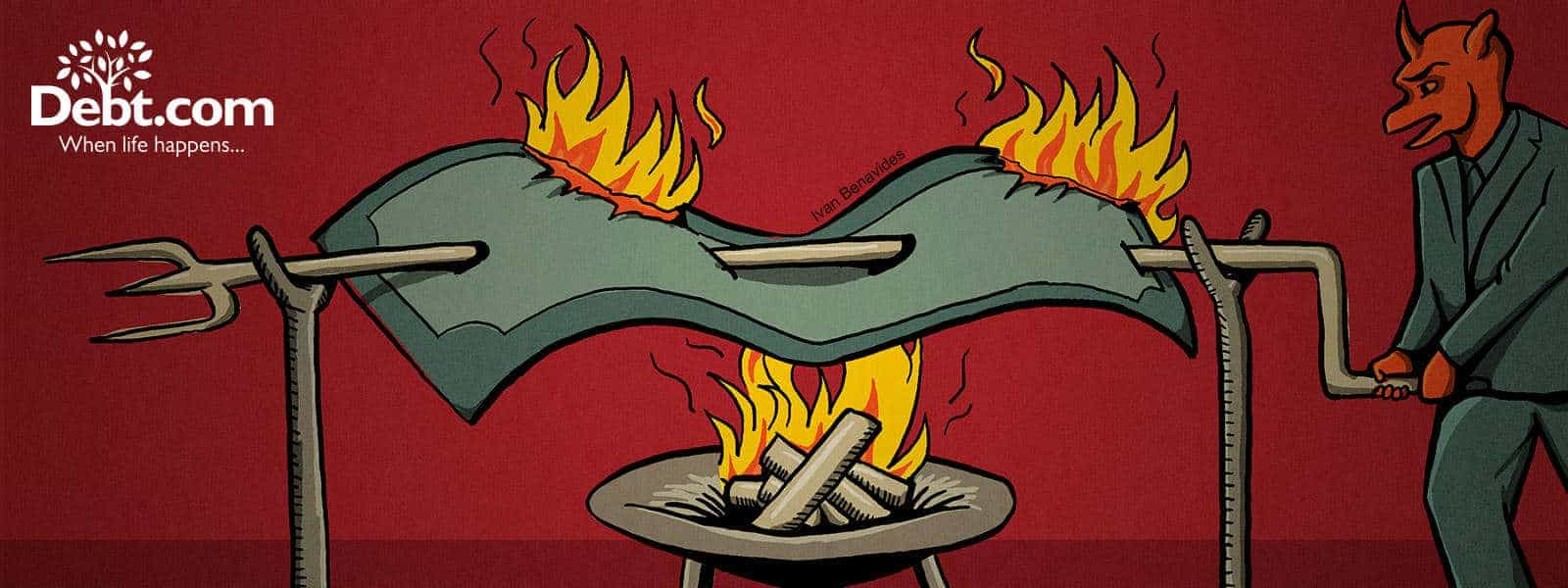 Devil burning your cash in credit hell (illustrated)