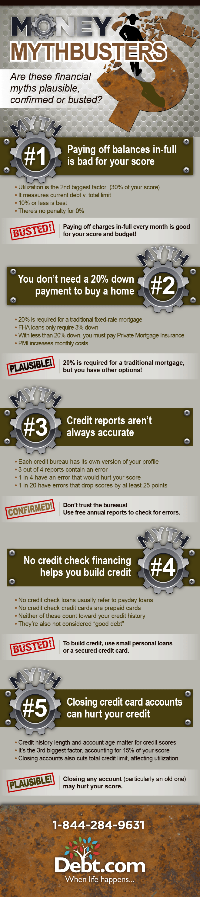 Debt.com's Money Mythbusters infographic looks at the top 5 financial myths