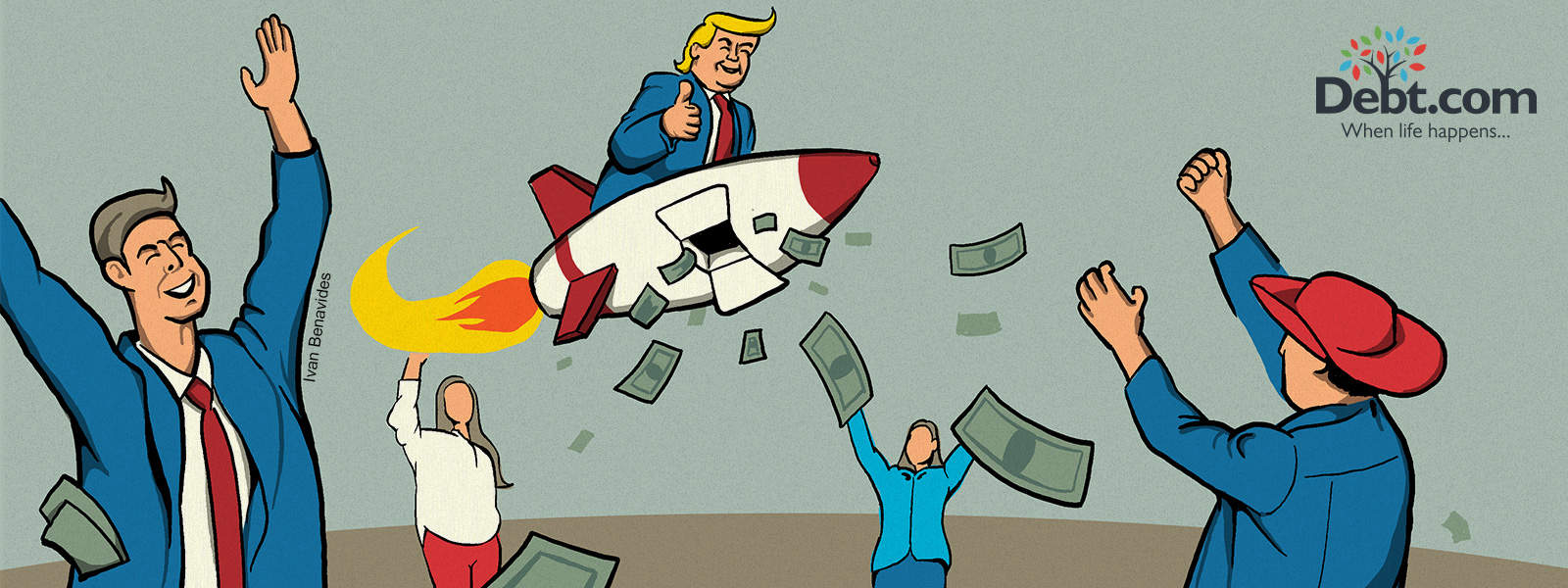Donald Trump rides a rocket throwing tax cash everywhere (illustrated)