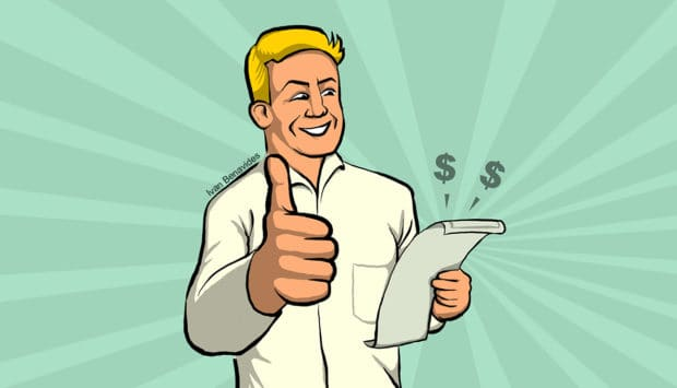 Holden Miller gives a thumbs up to his new higher paycheck (illustrated)