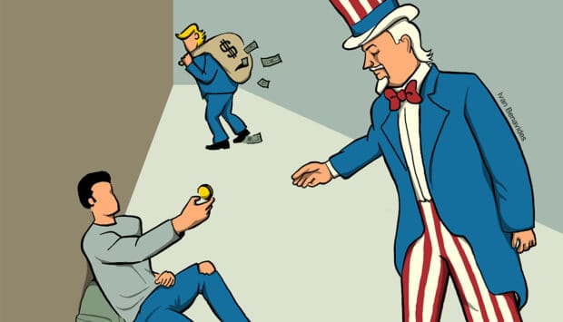 Uncle Sam is coming to take a man's last dollar while Trump walks away with a bag of cash (illustrated)