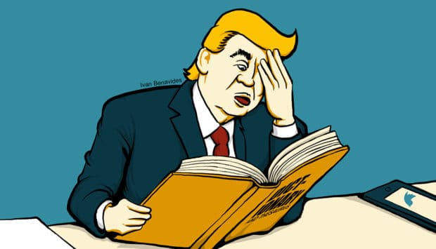Donald Trump struggles to read a dictionary (illustrated)
