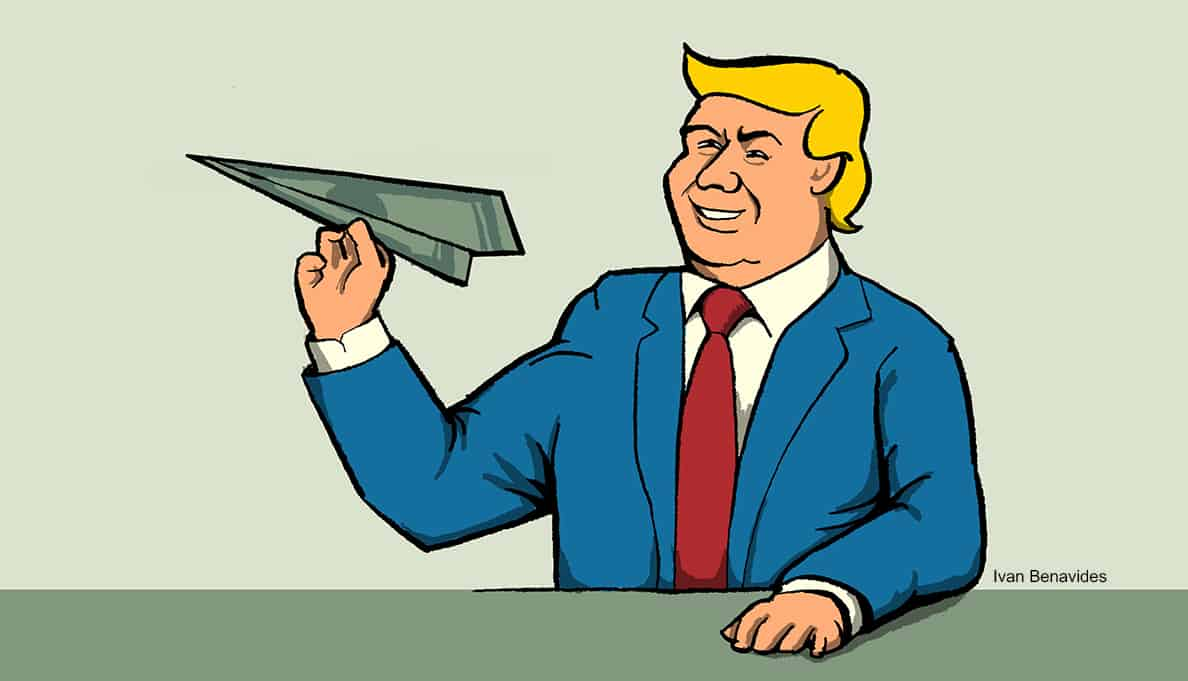 Job creator Donald Trump throws a paper airplane made of money (illustrated)