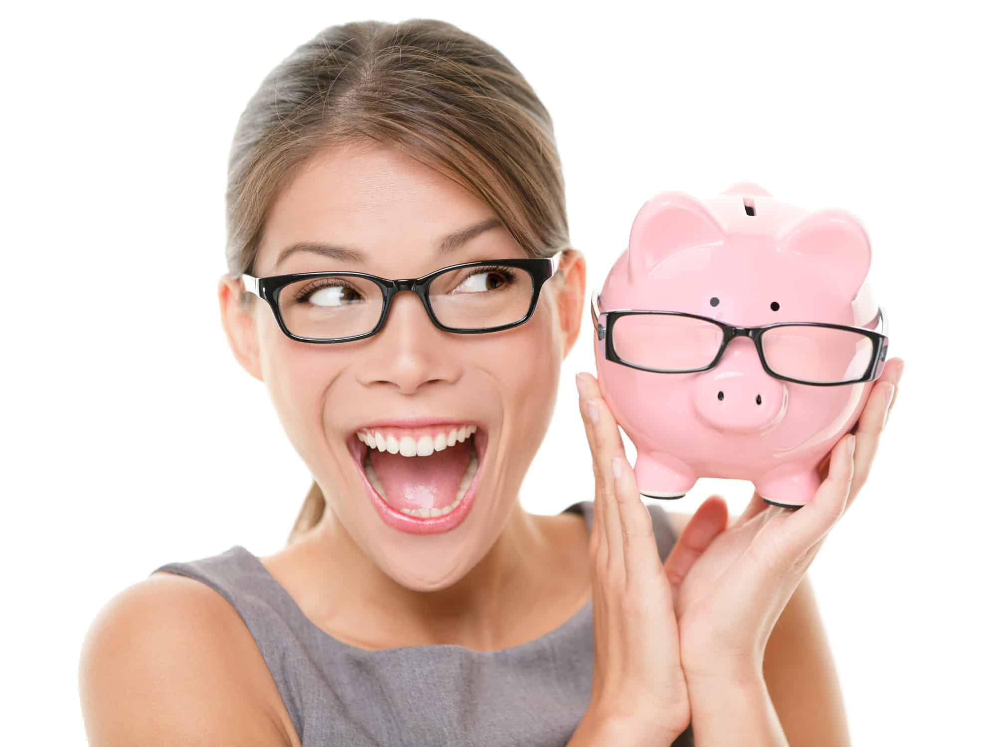Millennial woman with a smart piggy bank saves a lot