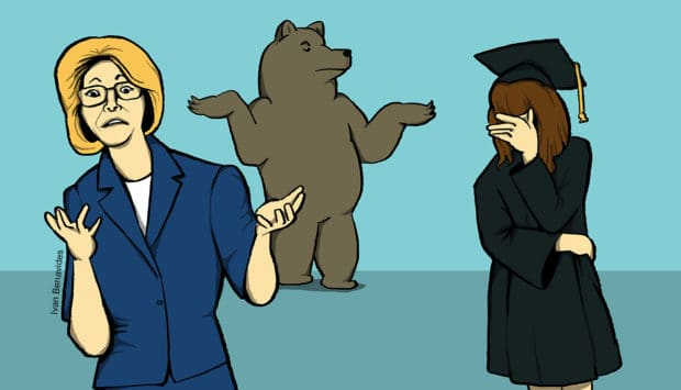 Betsy DeVos and her bear friend shrug as a student loan borrower struggles with repaying her loans (illustrated)