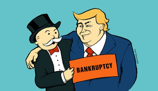 Donald Trump cuddles up to big bankers and gets a Bankruptcy card (illustrated)