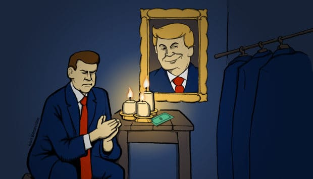 A small business owner prays to his Trump shrine in the closet (illustrated)