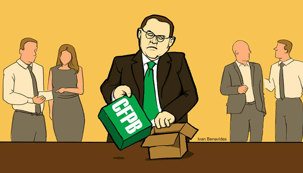 Mick Mulvaney squeezes the CFPB into a smaller box while Congress ignores it (illustrated)
