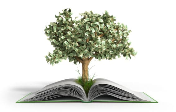 "A ""money tree"" grows from open book."