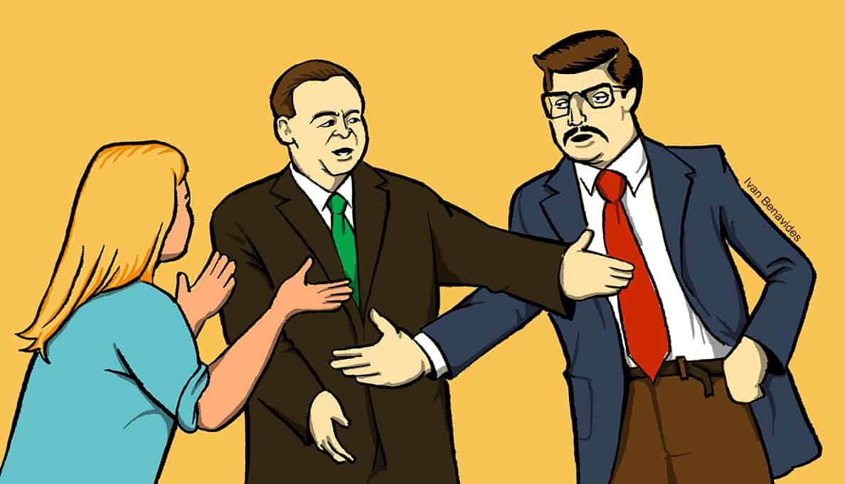 Acting CFPB Director Mick Mulvaney protects a consumer from a debt collector (illustrated)