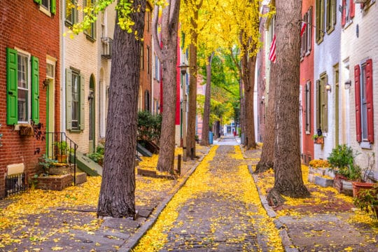Philadelphia, Pennsylvania, USA alley in the fall.
