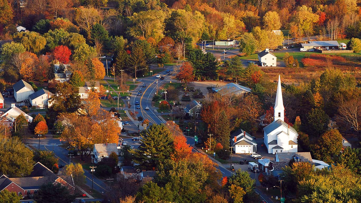 Aerial view of town in Massachusetts