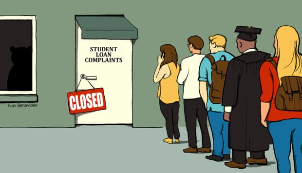 Students line up with student loan problems but can't get help (illustrated)