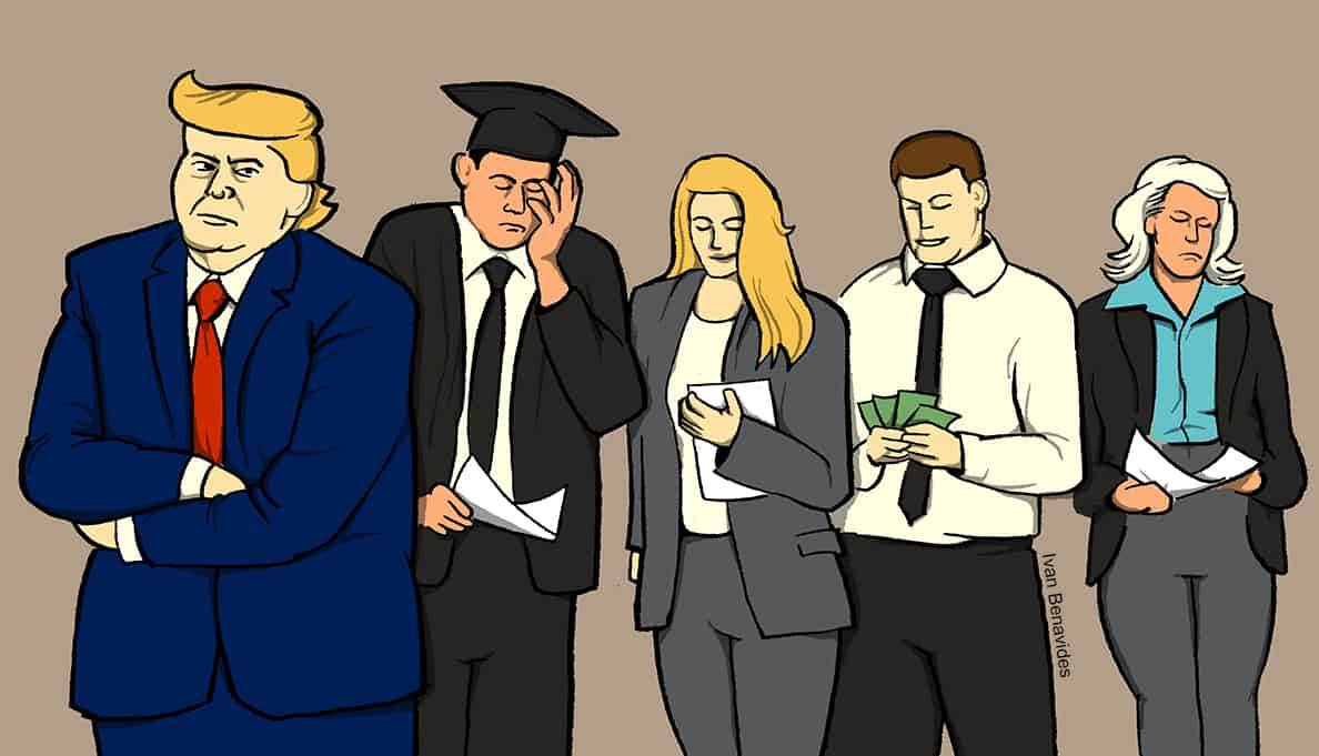 Americans with a diverse range of financial situations and Donald Trump (illustrated)