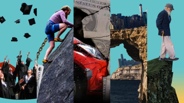 A collage of different types of debt and economic trouble that could signal a recession (illustrated)