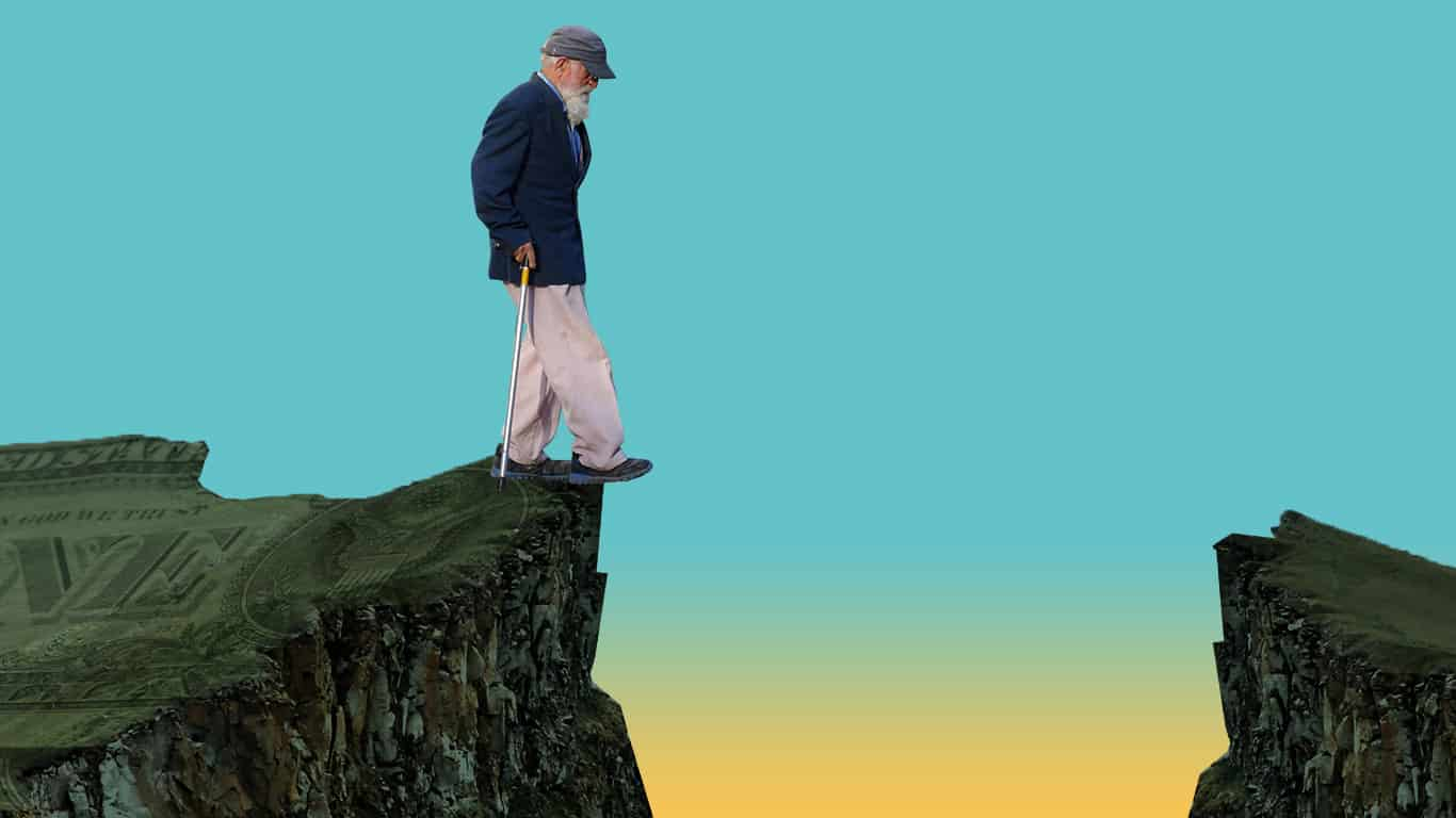 A man stands on the edge of a retirement gap cliff with no way to cross (illustrated)