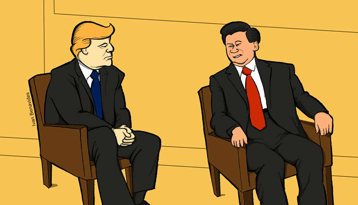 Donald Trump talks with Chinese leader Xi Jinping