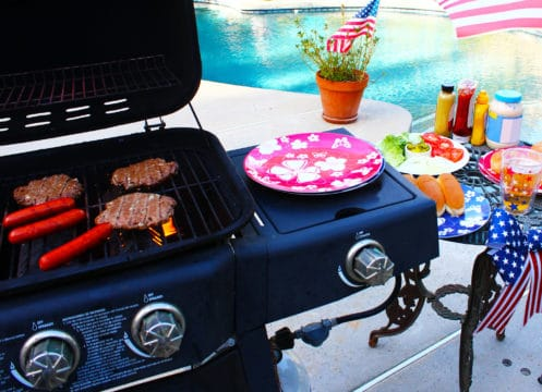 Save when using a gas grill by the swimming pool ready to BBQ.