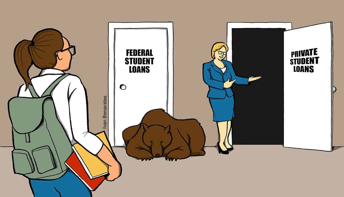 The Education Department leads students toward private student loans because a bear is blocking federal student loans (illustrated)