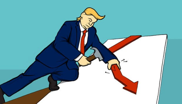 President Trump with hammer building a chart representing job growth (illustrated)