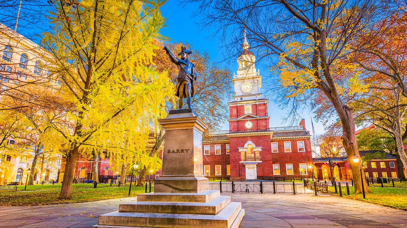 Independence Hall in Autumn in Philadelphia