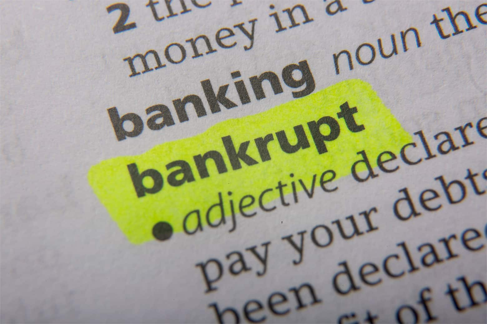 Bankrupt defined in the English dictionary